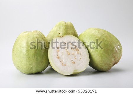 fresh guava on the plain background