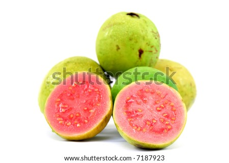 Fresh Guavas fruit over white background . - stock photo