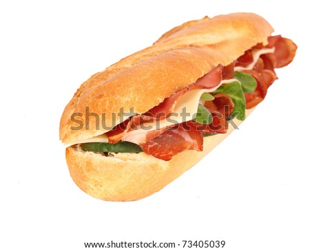 Fresh ham & cheese salad French baguette isolated