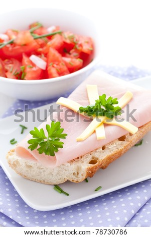 fresh ham sandwich with salad