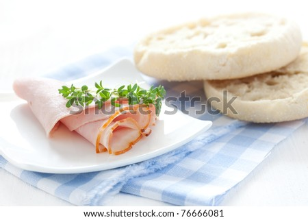 fresh ham with two english muffins