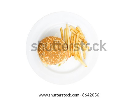 fresh hamburger on a plate isolated against white background