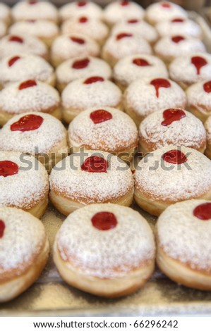 Fresh Hanukkah Donuts in the market
