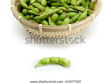 Fresh harvested edamame soybeans.