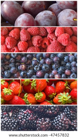 fresh healthy blue and red fruit