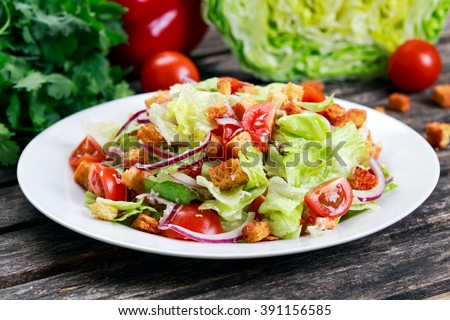 Fresh healthy Classic Caesar salad on plate #391156585
