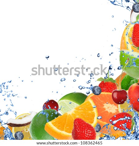 Fresh healthy fruit background with splashing water