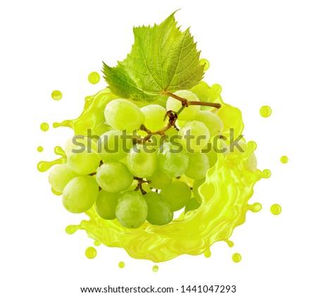 Fresh healthy grape juice or wine 3D splash swirl with ripe bunch of grapes. Tasty berry juice splashing grape juice isolated banner. Liquid juice, wine drink package advertising label design element