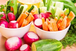 Fresh healthy juicy vegetables ready to eat
