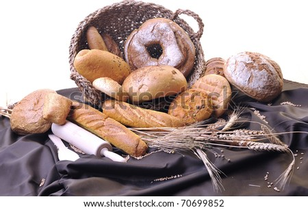 fresh healthy natural  bread food group and wheat plant in studio on table