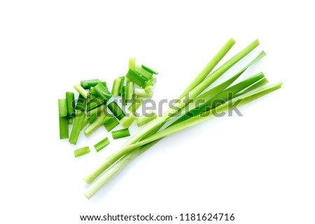 Fresh healthy organic green vegetable garlic chives, chinese chive sliced, green herb isolated on white background. Foto stock ©