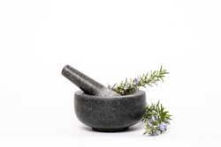 Fresh healthy rosemary in the mortar