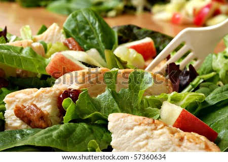 Fresh healthy salad with grilled chicken and apples.  Macro with extremely shallow dof. - stock photo