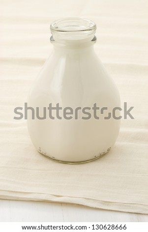 fresh, healthy soy milk on beautiful cheese cloth, nutritious and delicious milk substitute.