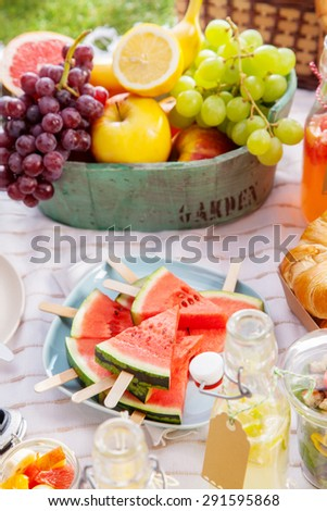 Fresh healthy tropical fruit on a picnic blanket on the grass with sliced watermelon on sticks and a bowl of grapes, apple, grapefruit, orange and banana