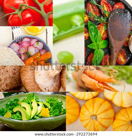 fresh healthy vegetables selection food collage composition