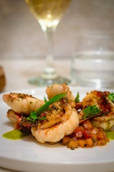 fresh healty meal seafood and wine