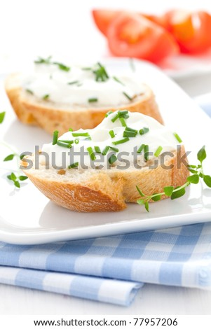 fresh herb cheese on baguette