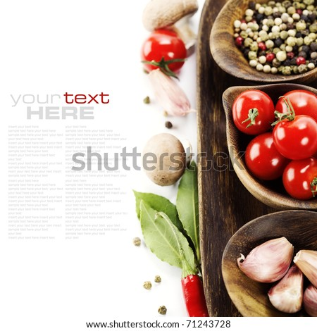 Fresh herbs and spices tomatoe garlic pepper mushroom bay leaves With sample text
