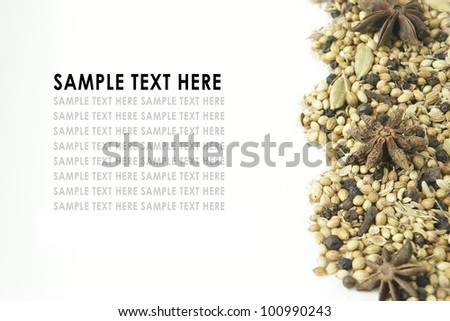 Fresh herbs and spices With sample text