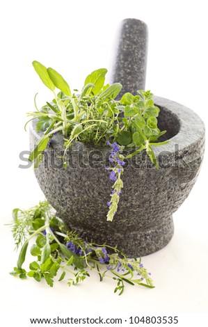 Fresh herbs in granite mortar