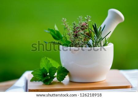 Fresh herbs in the mortar - alternative medicine