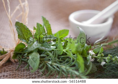 Fresh herbs tied to a bundle on burlap with a mortar & pestle in the background. Very shallow DOF, spearmint leaves are the focus point.