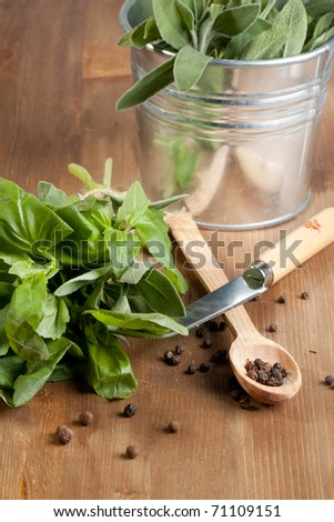 Fresh herbs with pepper, knife and spoon on wooden table
