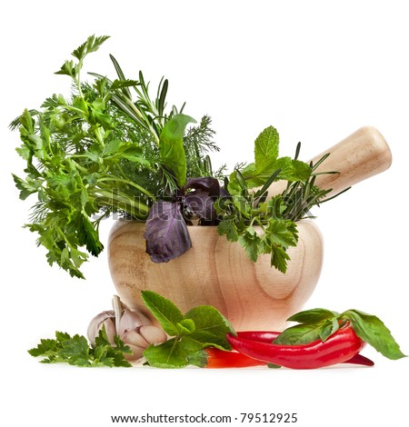 fresh herbs with spices isolated on white
