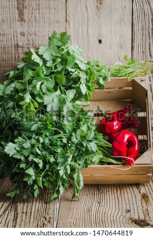 Fresh homegrown aromatic culinary herbs, hot red peppers in wooden crate on rustic table, plant based food, local produce, close. Organic green leaf vegetables, parsley, dill, cilantro, healthy  vegan