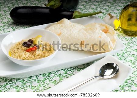 fresh homemade Badingian mutabbal Baba Ghanoush,traditional middle eastern dish - stock photo
