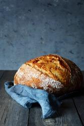 Fresh homemade bread on a gray background. Crisp Unleavened Bread at leaven.