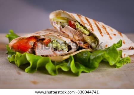 Fresh homemade chicken wrap tortilla