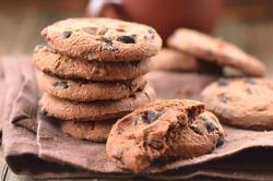 Fresh homemade cookies on a brown napkin