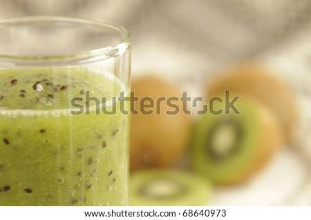 Fresh homemade kiwi smoothie for healthy breakfast