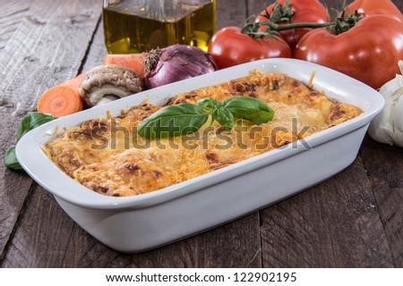 Fresh homemade Lasagne in a gratin dish