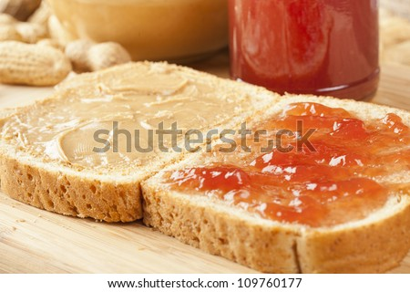 Fresh Homemade Peanut Butter and Jelly Sandwich