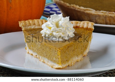 Fresh homemade pumpkin pie on a plate