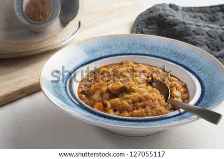 Fresh homemade quinoa stew with fresh vegetables.