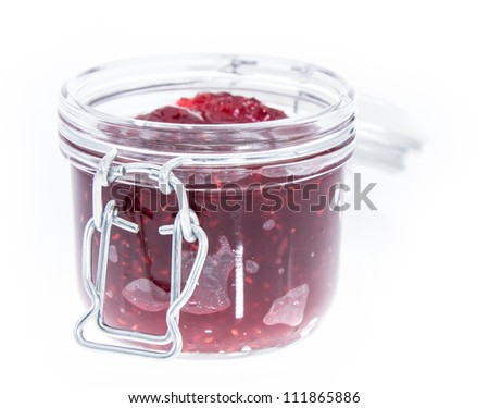 Fresh homemade Raspberry Jam isolated on white