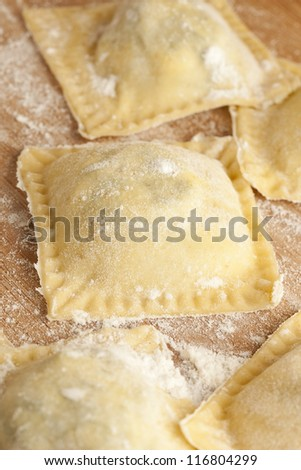 Fresh Homemade Ravioli against a back ground