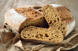 fresh homemade rustic wholegrain bread