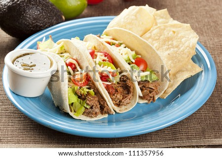 Fresh Homemade Shredded Beef Tacos with organic ingredients