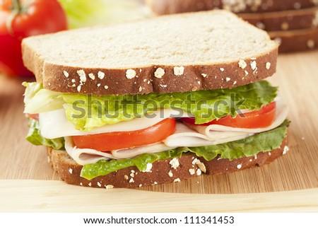 Fresh Homemade Turkey Sandwich made with organic ingredients
