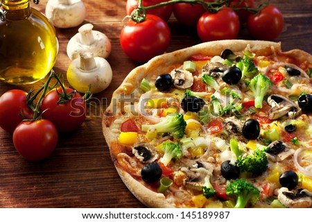 fresh homemade veggie pizza with vegetables