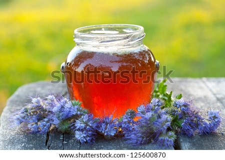 fresh honey and flowers