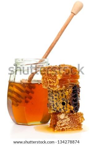 fresh honey isolated on white