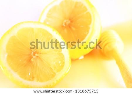 fresh honey organic lemon with lighting #1318675715
