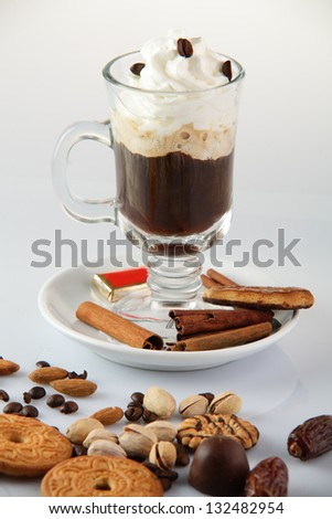 fresh hot and tasty cup of coffee on white background
