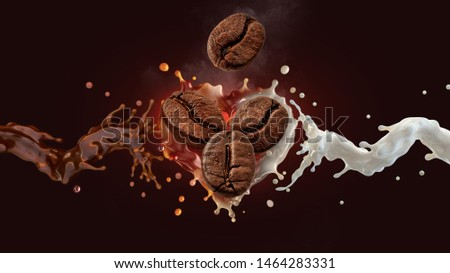 Fresh hot aroma black coffee, espresso, americano 3D splash with roasted  coffee beans, fresh milk or cream splash on dark background. Coffee with milk, latte, cappuccino, mocha label design element